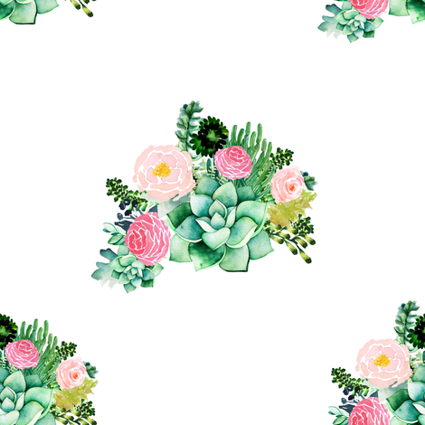 """8"""" Cactus Florals - White fabric by shopcabin on Spoonflower - custom fabric"""