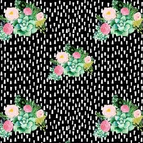 "4"" Cactus Florals - Black with White Dashes"