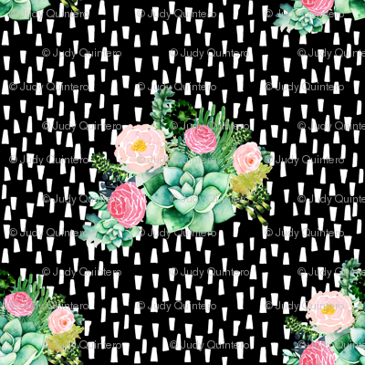 """8"""" Cactus Florals - Black with White Dashes"""