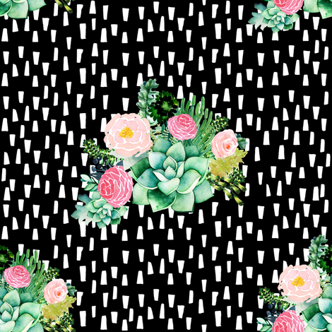 """8"""" Cactus Florals - Black with White Dashes fabric by shopcabin on Spoonflower - custom fabric"""