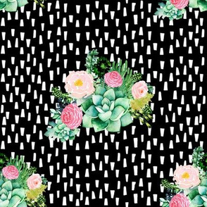 "8"" Cactus Florals - Black with White Dashes"