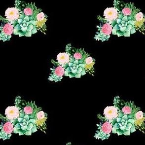 """4"""" Cactus Florals - Black"""