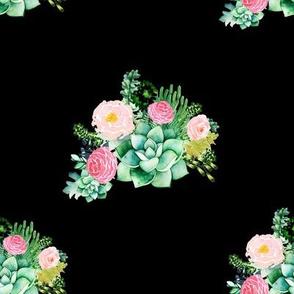 """8"""" Cactus Florals - Black"""