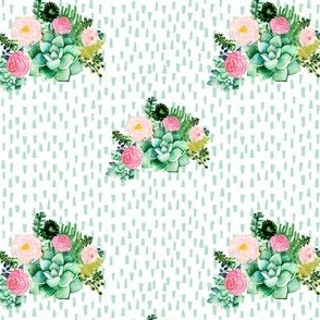 "4"" Cactus Florals - Minty Dashes"