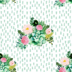 "8"" Cactus Florals - Minty Dashes"