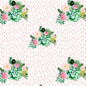 "4"" Cactus Florals - Pink Dashes"