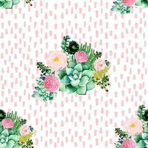 "8"" Cactus Florals - Pink Dashes"