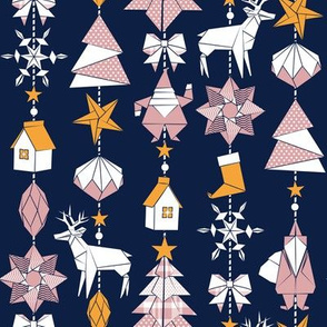 Origami Christmas Dream Catcher // navy background white, yellow saffron and pink blush trees, santas, houses, stars, deers, ribbons and boots