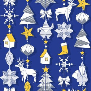Origami Christmas Dream Catcher // royal blue background white, sunglow yellow and silver grey blush trees, santas, houses, stars, deers, ribbons and boots