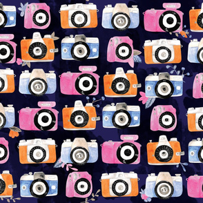 Photo camera watercolor pattern