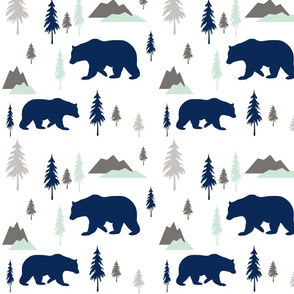 Bears mountains forest mint cool NO GOLD