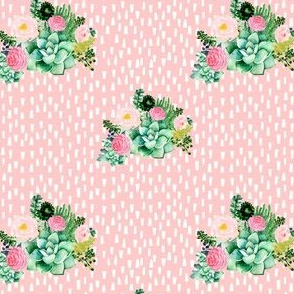 "4"" Cactus Florals - Pink with White Dashes"