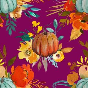 Pumpkin floral fuchsia