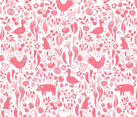 Farm Animals Pink fabric by jill_o_connor on Spoonflower - custom fabric
