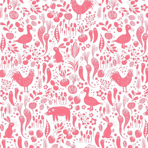 Farm Animals Pink