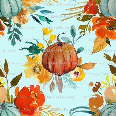 Autumn Pumpkin Floral Watercolor //Mint