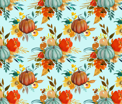 Autumn Pumpkin Floral Watercolor //Mint fabric by theartwerks on Spoonflower - custom fabric