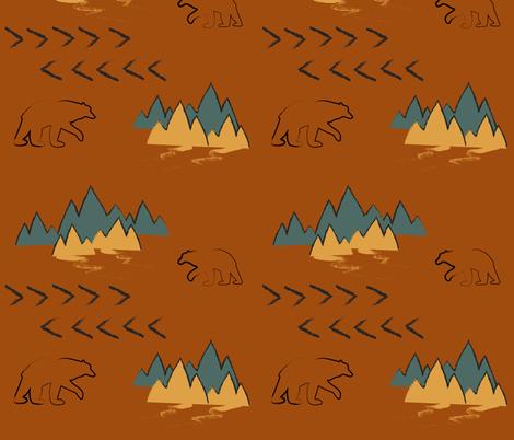 Terracotta Ocean Saffron Bears fabric by huffernickel on Spoonflower - custom fabric