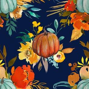 Autumn Pumpkin Floral Watercolor // Navy
