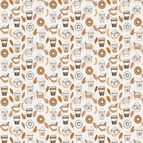 MINI pumpkin spice latte fabric coffee and donuts fall autumn traditions off-white