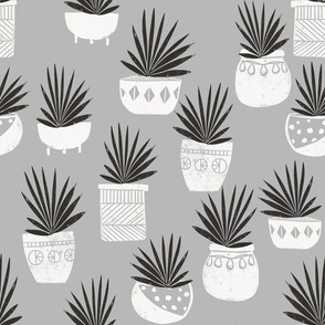 linocut plant life fabric, plants fabric, home decor fabric, linocut fabric, hand printed fabric, plants, trendy plants, 2019 trends fabric - andrea lauren - grey