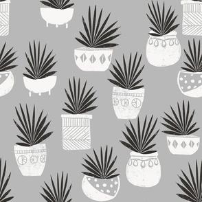 linocut plant life fabric, plants fabric, home decor fabric, linocut fabric, hand printed fabric, plants, trendy plants, 2019 trends fabric - andrea lauren - grey