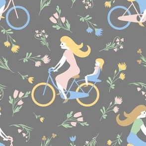 girls on bike grey pattern