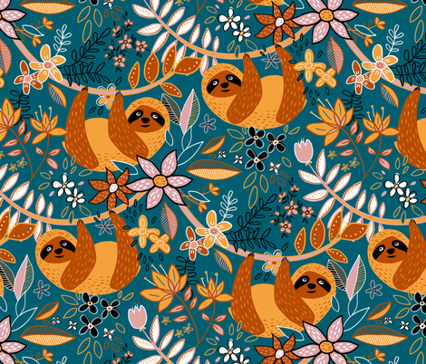 Cute Boho Sloth Floral  fabric by micklyn on Spoonflower - custom fabric