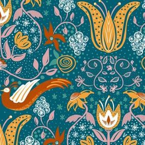 Folk Florals and Birds