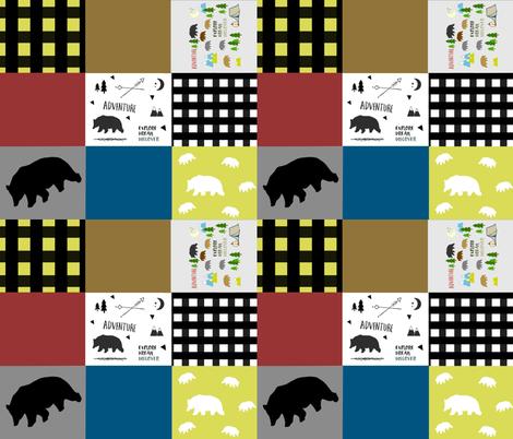 little lumberjack bear quilt 105 -yellow fabric by drapestudio on Spoonflower - custom fabric
