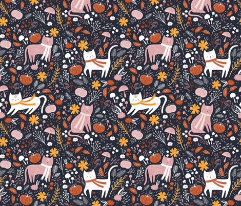 Pumpkin patch kitties - navy fabric by sarah_knight on Spoonflower - custom fabric