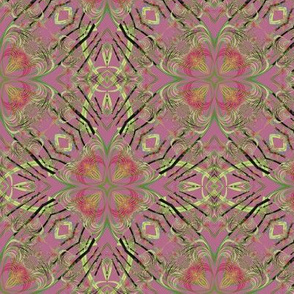 Fractal Kaleidoscope in Pink and Yellowish Green
