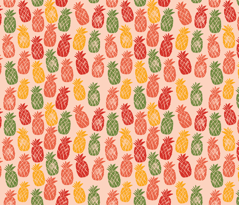 Tropical Pineapples - Coral Background fabric by sweetgrasspaperco on Spoonflower - custom fabric