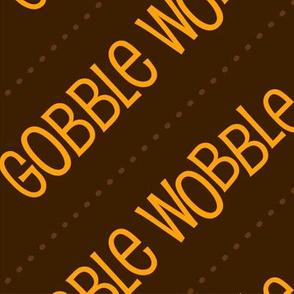 Thanksgiving  Turkey Gobble Wobble Thanksgiving Pattern Diagonal Brown Gold