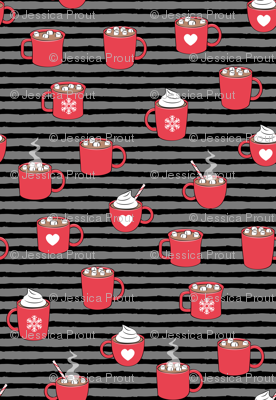 (small scale) hot cocoa - hot chocolate - red on black on grey stripes C18BS