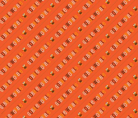 Thanksgiving  Turkey Gobble Wobble Thanksgiving Pattern Diagonal Orange fabric by furbuddy on Spoonflower - custom fabric