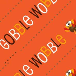 Thanksgiving  Turkey Gobble Wobble Thanksgiving Pattern Diagonal Orange