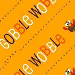 Thanksgiving  Turkey Gobble Wobble Thanksgiving Pattern Diagonal Gold