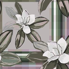 Magnolias Plaid Neutral reds