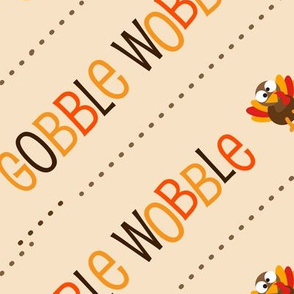 Thanksgiving  Turkey Gobble Wobble Thanksgiving Pattern Diagonal Light Brown Tan