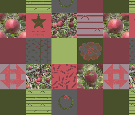 """4"""" Wholecloth Patchwork: Eclectic Solstice   Cider Apple fabric by lochnestfarm on Spoonflower - custom fabric"""