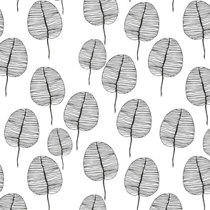 Abstract Hand-drawn Leaves Black on White Drop