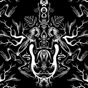Skeleton Frog Damask - Dark