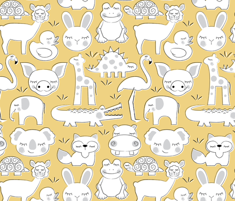baby animals on soft yellow fabric by lilcubby on Spoonflower - custom fabric