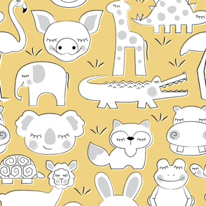 baby animals on soft yellow