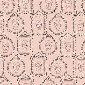 Doodle Faces Portrait Frames Sketchy Seamless Pattern, Line Art Vector