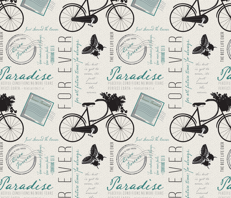 Just Around the Corner, French style, Paradise, Teal fabric by applebutterpattycake on Spoonflower - custom fabric