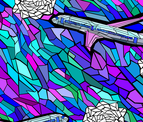 stained glass jet plane fabric by pamelachi on Spoonflower - custom fabric