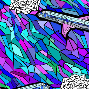 stained glass jet plane