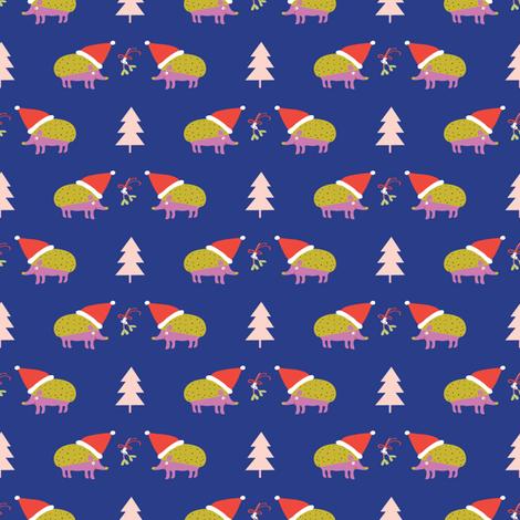 Hedgehogs Xmas blue ©Solvejg Makaretz fabric by solvejg on Spoonflower - custom fabric